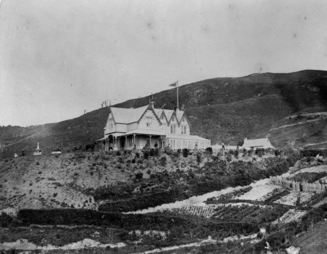 William Rhodes' residence at Wadestown Wellington. Photograph by Edward Smallwood Richards, 1/2-110510-F, Alexander Turnbull Library, Wellington