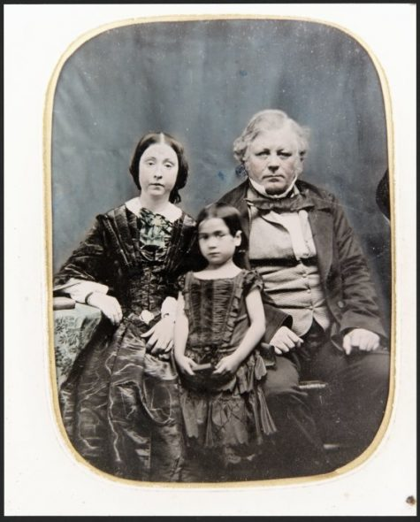 Sarah Rhodes (nee King), Maryann Rhodes and Williiam Barnard Rhodes, 1858. Copied from an ambrotype lent by Eddie Ryle-Hodges. PA Coll-5601, Alexander Turnbull Library, Wellington