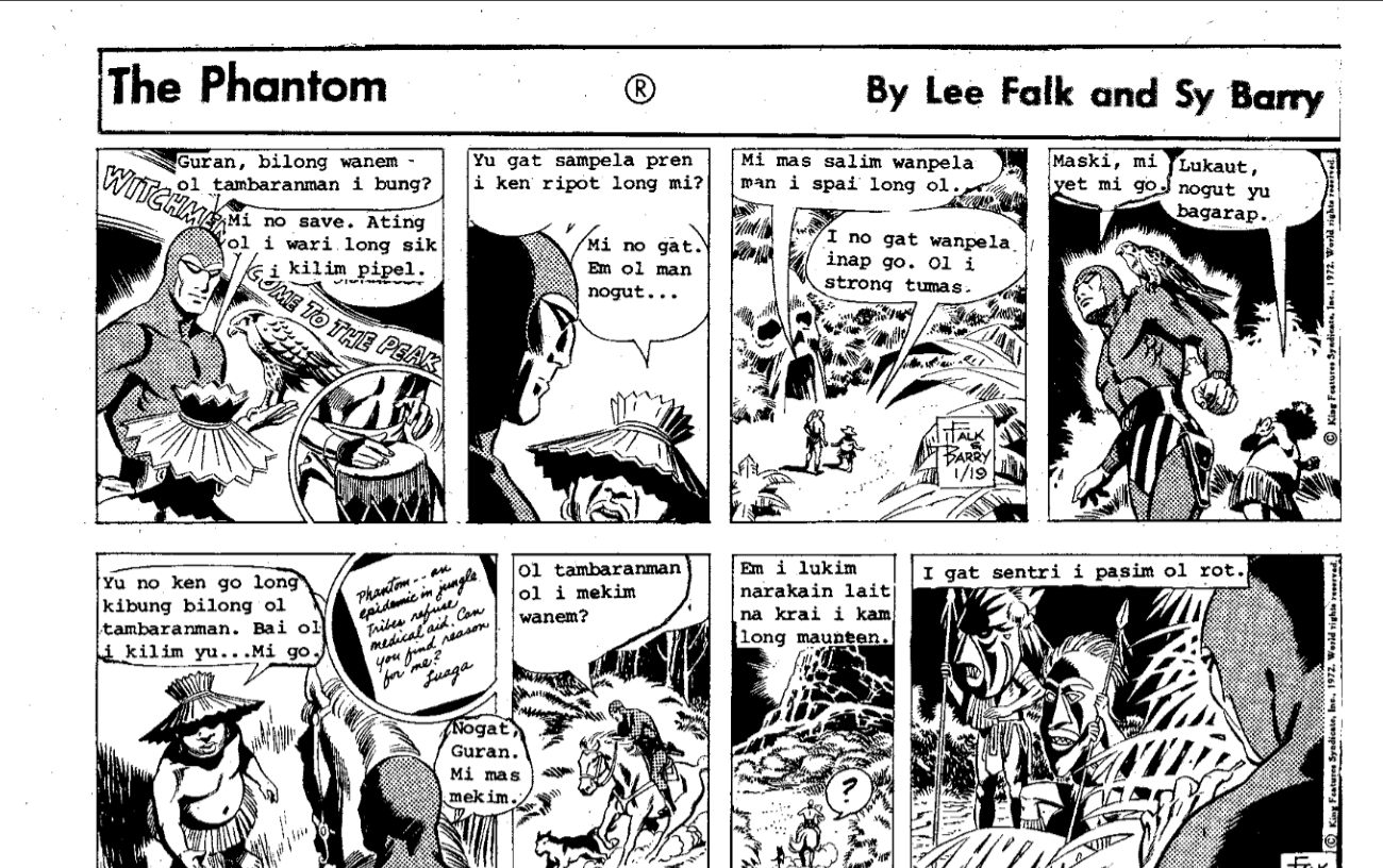 Excerpt of The Phantom in Wantok Namba 76. September 1973 https://blog.tepapa.govt.nz/wp-content/uploads/2016/09/Wantok_namba_76.pdf