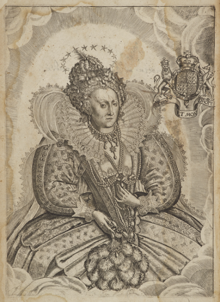 Artist unknown, Elizabeth I of England. Plate 1. From the Book: The historie of the most renowned and victorious Princesse Elizabeth, late queene of England, 1630, London, by William Camden, B Fisher. Te Papa (RB001301/001a)
