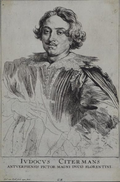 Sir Anthony van Dyck, Gillis Hendricx, Justus Sustermans, painter in Antwerp. From Icones principum virorum (Iconography),etching, early 1630s, Purchased 2010. Te Papa (2010-0009-2)