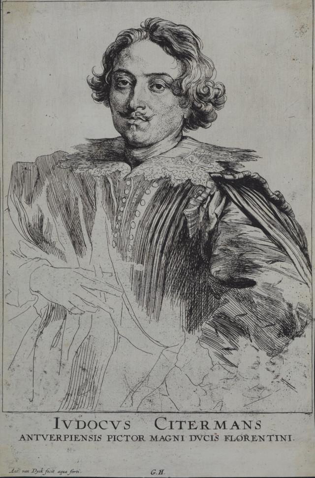 Sir Anthony van Dyck, Gillis Hendricx, Justus Sustermans, painter in Antwerp. From Icones principum virorum (Iconography),etching, early 1630s, Purchased 2010. Te Papa (2010-0009-2)