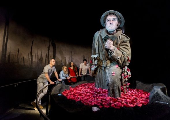 Cecil Malthus emerging from poppies on the Somme. Gallipoli: The scale of our war. Te Papa / Weta Workshop.