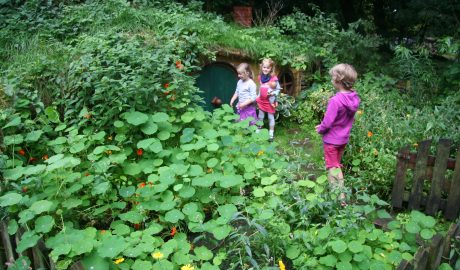 Hobbits enjoying the hobbit hole at the Oldenburg Botanic Garden. Sept 2016. Photo by Heidi Meudt.