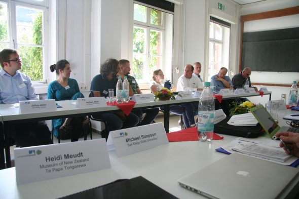 Conference participants the finer points of Boraginaceae taxonomy, conservation and systematics at the 2016 International Boraginales Conference, Nees Institute, Bonn, Germany. Photo by Heidi Meudt.
