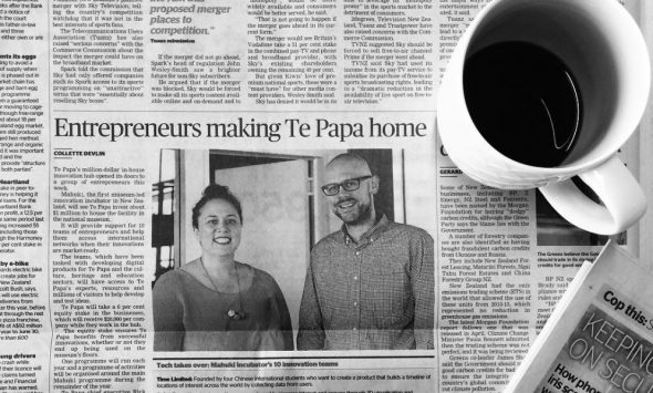 NZ famous, Tui Te Hau and Tim von Dadelszen. Newspaper clipping of a story about Mahuki, 2016. Photograph by Priscilla Loong. Mahuki, Te Papa.