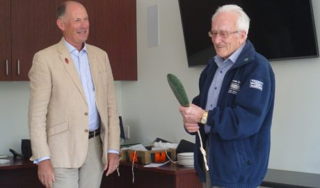 John Dawson being awarded the Allan Mere by Anthony Wright, President of the New Zealand Botanical Society. Photo: Lara Shepherd