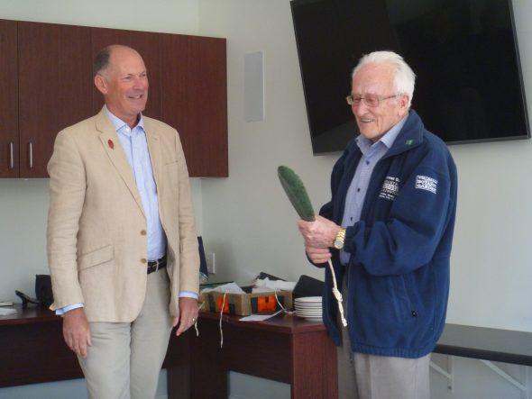 John Dawson being awarded the Allan Mere by Anthony Wright, President of the New Zealand Botanical Society. Photo: Lara Shepherd