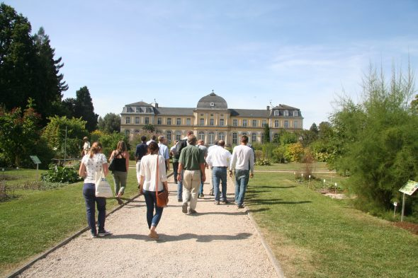 Happy botanists roaming through the Bonn Botanic Gardens, which also has its very own palace! Sept 2016. Photo by Heidi Meudt.