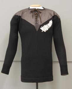 Rugby jersey [1905 replica], 2011, New Zealand, by Robertina Downes, Deborah Cumming, Manawatu Knitting Mills Ltd, New Zealand Rugby Museum. Commissioned 2011. Te Papa (GH017325). After padding out for display.