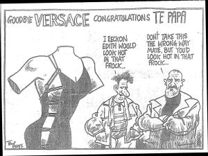 2001 cartoon commentary on Te Papa's Versace exhibition.