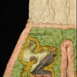 Pockets, circa 1760, England, maker unknown. Gift of the Wellington Embroiderer's Guild Inc., 2002. Te Papa GH007784. Detail of metal threads after conservation treatment. Photo by K. Miller, copyright Te Papa.
