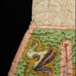 Pockets, circa 1760, England, maker unknown. Gift of the Wellington Embroiderer's Guild Inc., 2002. CC BY-NC-ND licence. Te Papa (GH007784). Detail of lifting metal threads before conservation treatment.