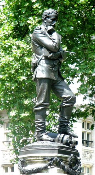 General Charles Gordon, 1888, by W. Hamo Thornycroft. Victoria Embankment, London. (Robert Freidus, The Victorian Web)