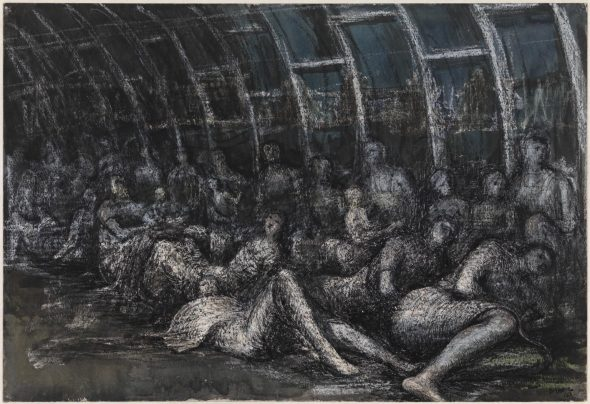 Shelterers in the Tube 1941 Henry Moore OM, CH 1898-1986 Presented by the War Artists Advisory Committee 1946 http://www.tate.org.uk/art/work/N05712