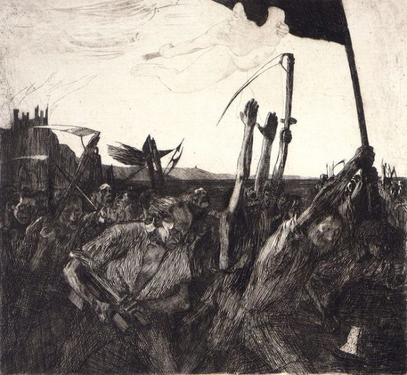 Aufruhr (Uprising) from Ein Weberaufstand (Weavers' Revolt), 1899, by Käthe Kollwitz. Te Papa (1981-0034-2)