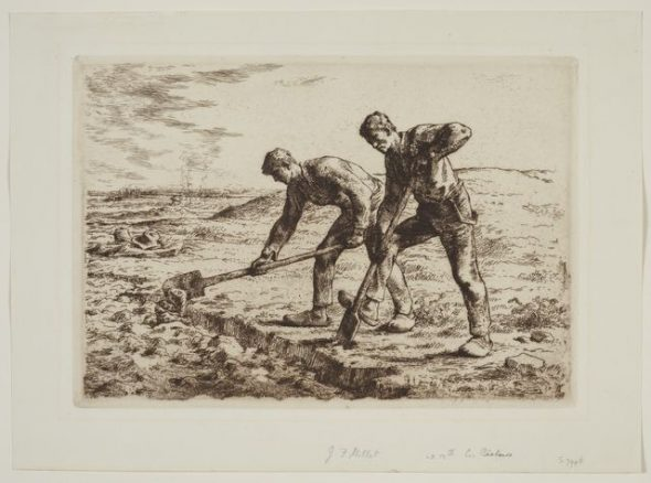 Les bêcheurs (The diggers); 1855-1856; Millet, Jean-François; etching and aquatint in brown-black ink with surface tone; paper; etching; France