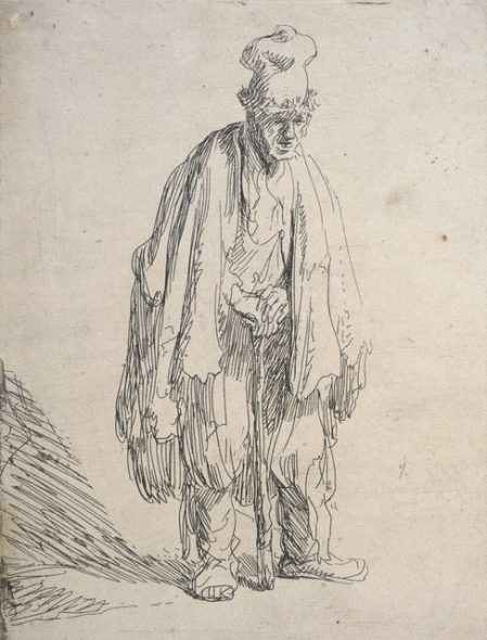 Beggar leaning on a stick, c. 1629, by Rembrandt van Rijn. Gift of Sir John Ilott, 1961.Te Papa (1961-0006-23)