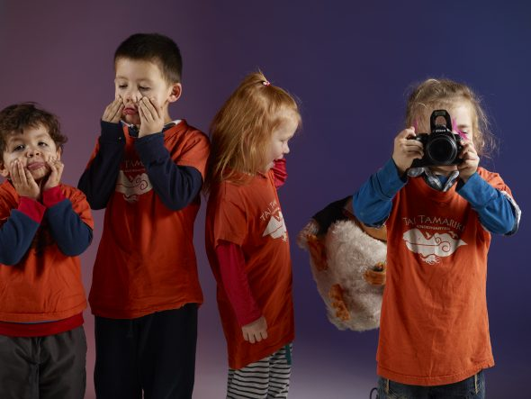 Larking around in the studio, Photograph by Tai Tamariki Kindergarten. Te Papa