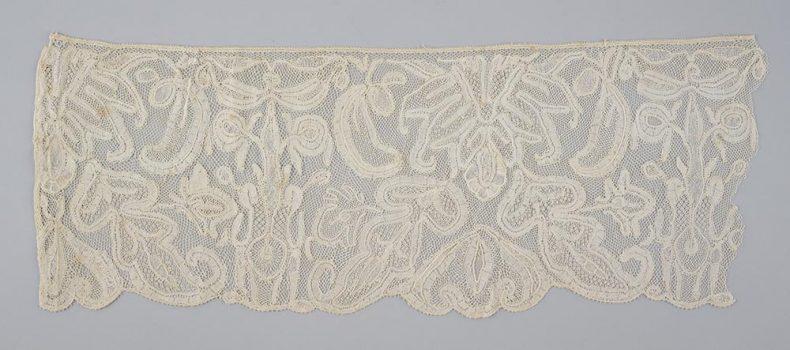 Maker unknown, Lace edging, linen, bobbin lace technique, 1700s, Belgium, Gift of Mrs G Acland Allen, 1955. Te Papa (PC000334)