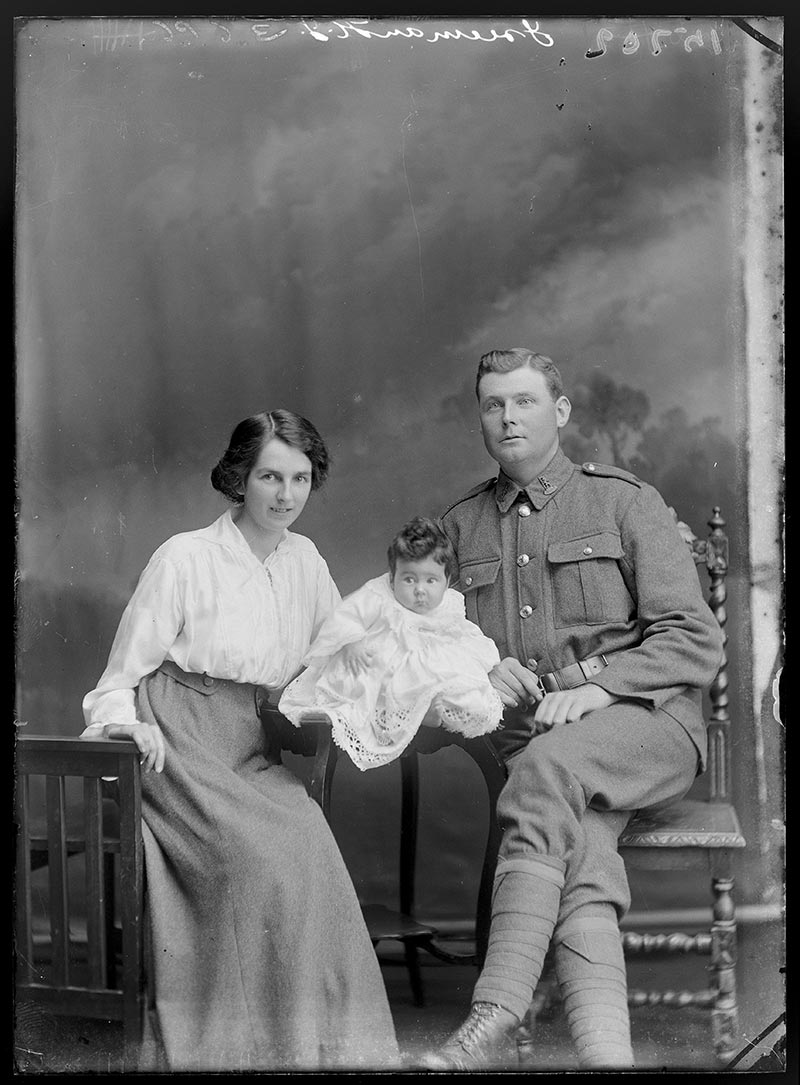 Portrait of Herbert James Freeman with Marguerita Freeman and baby Zena, 1917, Wellington, by William Berry. Purchased 1998 with New Zealand Lottery Grants Board funds. Te Papa (B.045581)