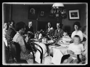 Cheslyn Rise - Christmas dinner, circa 1920, by Leslie Adkin. Gift of G. L. Adkin family estate, 1964. Te Papa (B.022885)