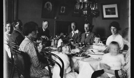 Cheslyn Rise - Christmas dinner, circa 1920, by Leslie Adkin. Gift of G. L. Adkin family estate, 1964. Te Papa (B.022885)