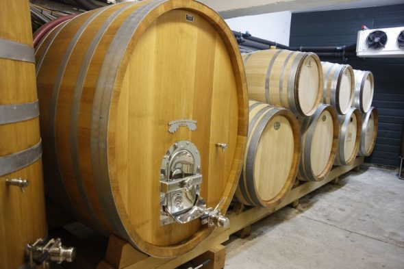 Barrels for storing the wine as it matures are used for 3-4 years only, and produced from around Europe (e.g. Austria, France). Photo taken by and courtesy of Dominique Filippi.