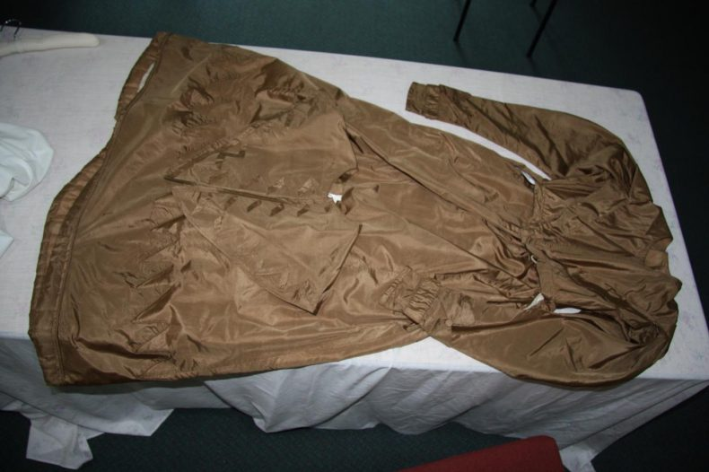 Brown silk dress, 1830s, brought to New Zealand on the Crescent by Alicia Townsend (Burgess). In the collection of Broadgreen House. Photo by A. Peranteau, copyright Te Papa.