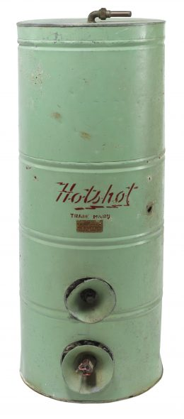 Hot water cylinder, circa 1940, Wellington, by L. Albert & Co. Ltd. Gift of Sarah Nelson, 2009. CC BY-NC-ND licence. Te Papa (GH012205)