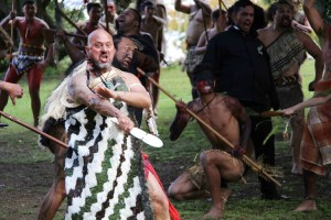 Awanui in action at the 150th commemoration of the Battle of Pukehinahina / Gate Pa. 29 April 2015 Photographer: Tania Lewis-Rickard. used with permission.
