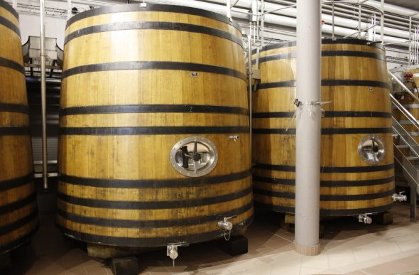 Massive oak vats for processing wines - some Sauvignon and Pinot Noir are kept in oak while fermentation takes place. Photo taken by and courtesy of Dominique Filippi.