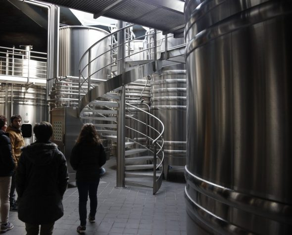 Stainless steel vats contain the juice from grapes gathered on individual parcels of land at Chavignon to maintain the specific tastes associated with the terroir of that grape variety, that hillside, that soil type, and that processing acumen. Photo taken by and courtesy of Dominique Filippi.