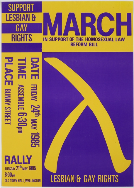 Poster, 'March in Support of the Homosexual Law Reform Bill'