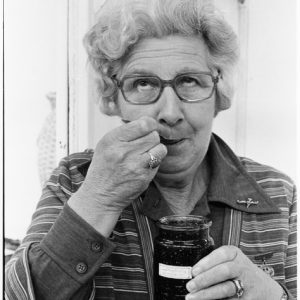 Mrs Margaret Foster samples raspberry jam at the Manawatu Agricultural and Pastoral Show. Dominion post (Newspaper) :Photographic negatives and prints of the Evening Post and Dominion newspapers. Ref: EP/1977/4475/31A-F. Alexander Turnbull Library, Wellington, New Zealand. http://natlib.govt.nz/records/23031707