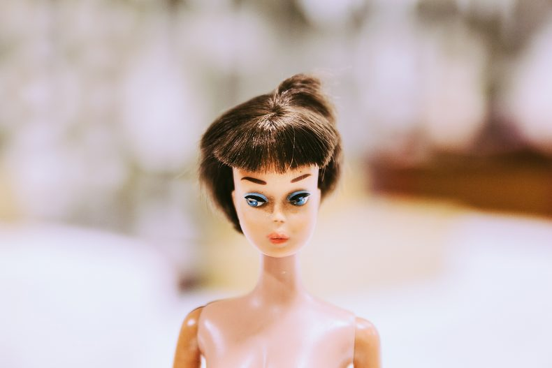Brunette barbie with short chopped hair