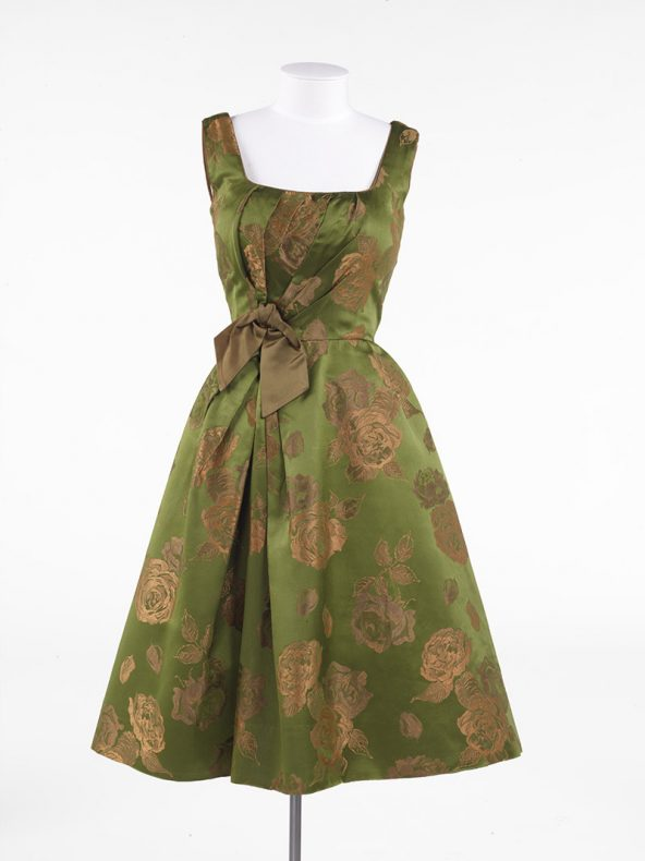 Green and gold metalic dress