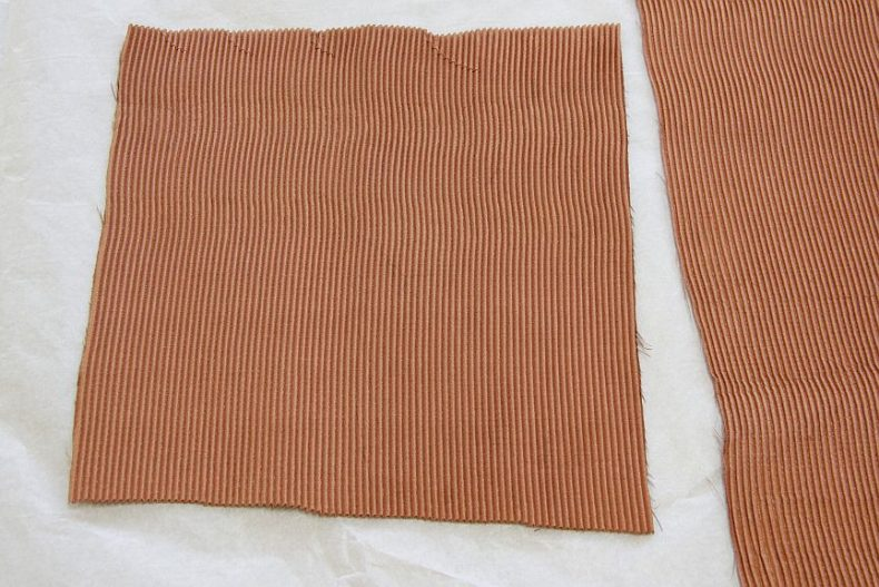 "Swatches of the pleated copper/polyester fabric used for Dual Outlook's ""flysheet accessory"". Photograph by Anne Peranteau"