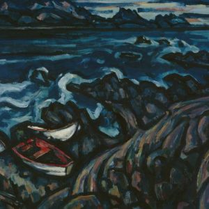 1977-0017-3. Rudolf Gopas. Rocky coast, Kaikoura. 1959. Oil on hardboard. Purchased 1977 with Lindsay Buick Bequest funds.