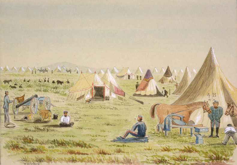 """Camp at Waitotara, Taranaki - Wanganui [1864. One of our Brasier's non fighting days]"" Hamley, Joseph Osbertus, 1820-1911: Sketches in New Zealand [ca 1860 to 1864]. Ref: E-047-q-036. Alexander Turnbull Library, Wellington, New Zealand. http://natlib.govt.nz/records/22772498"