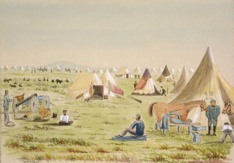 """Camp at Waitotara, Taranaki - Wanganui [1864. One of our Brasier's non fighting days]"" Hamley, Joseph Osbertus, 1820-1911: Sketches in New Zealand [ca 1860 to 1864]. Ref: E-047-q-036. Alexander Turnbull Library, Wellington, New Zealand. http://natlib.govt.nz/records/22772498"