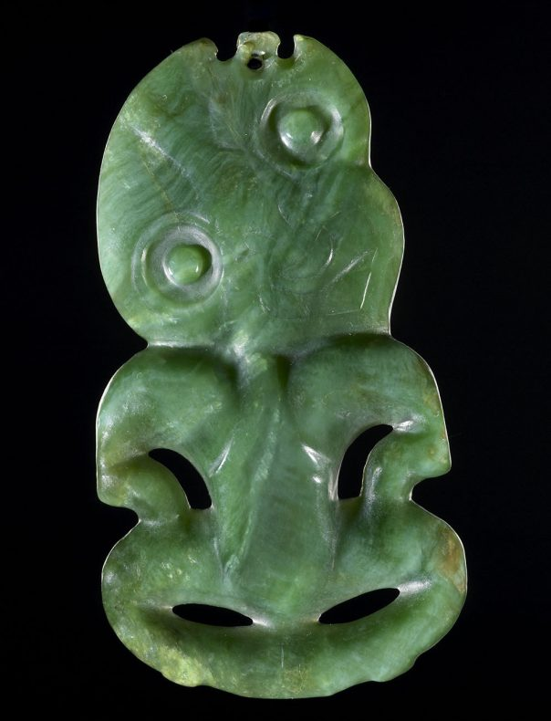 Carved green stone human-like figure
