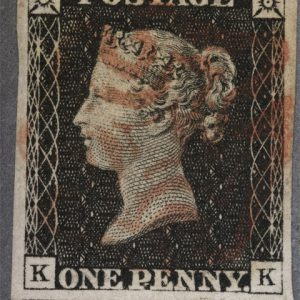 Issued one penny British 'Penny Black' stamp, 1840, United Kingdom, by Charles Heath, Frederick Heath. Purchased 2004. Te Papa (PH001330)
