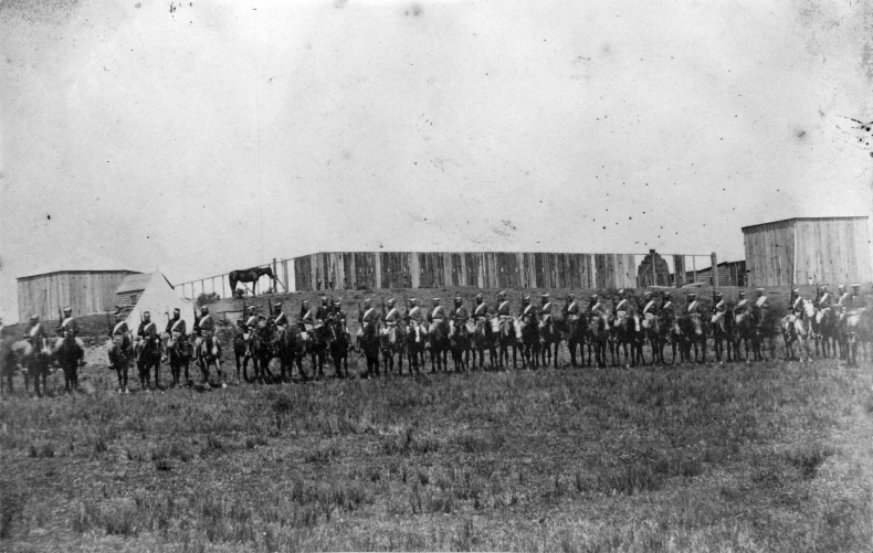 Mounted troops alongside the stockade at Ruataniwha, during the New Zealand Wars. Inglis, C R St Clair :Photographs of Hawke's Bay. Ref: 1/2-031214-F. Alexander Turnbull Library, Wellington, New Zealand. http://natlib.govt.nz/records/23058085