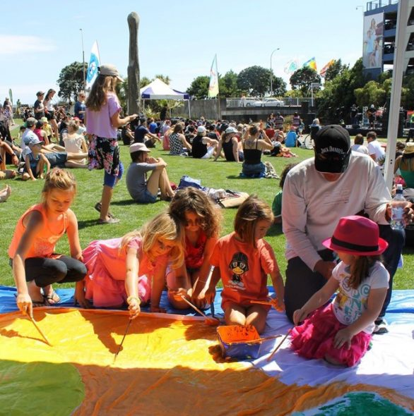 Kids play at New Plymouth District Council Waitangi day commemoration