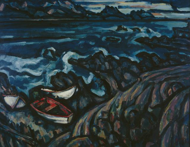 Oil painting of boats and a moody sea