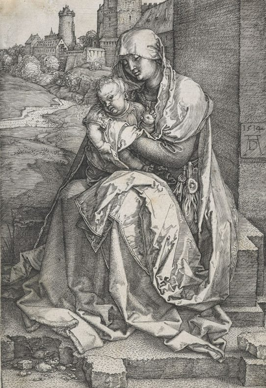 Etching of Virgin and child seated by the wall