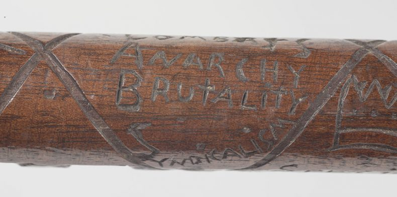 Special Constable's Baton (detail), 1913, maker unknown, Hugh White. Gift of Mr Hugh White, 2005. CC BY-NC-ND licence. Te Papa (GH011601)