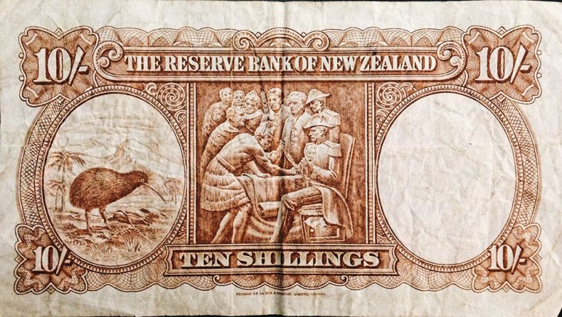 The front of a 10 shilling note, 2017. Te Papa