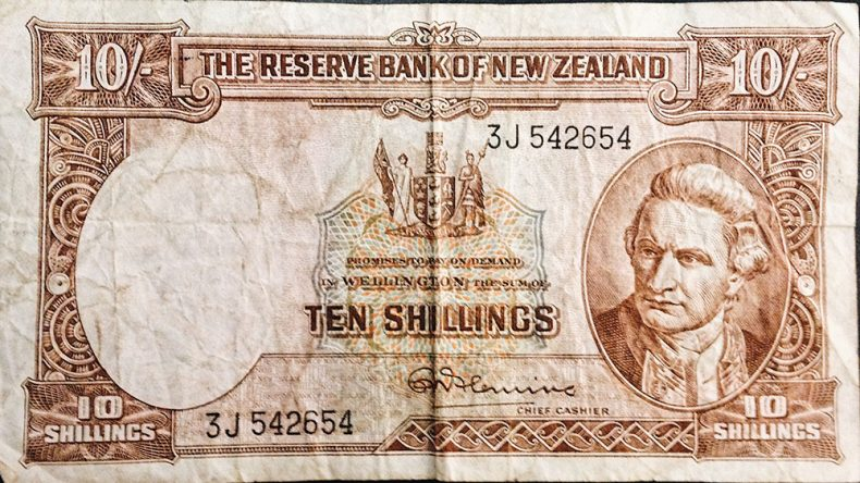 The front of a 10 shilling note